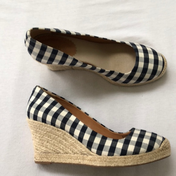ef75bee280a4 J. Crew Gingham espadrille wedges Size 9.5